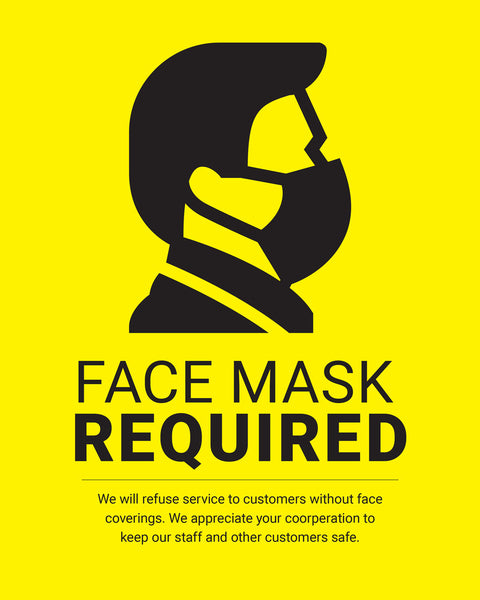 Mask Required Sign - 2 - Yellow - Set of 5