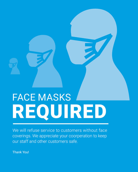 Mask Required Sign - 3 - Blue - Set of 5