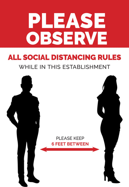 Social Distancing Required -1 - Set of 5