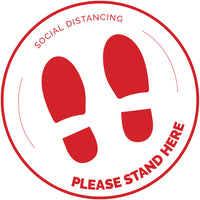 Please Stand Here - Round - White - Set of 5