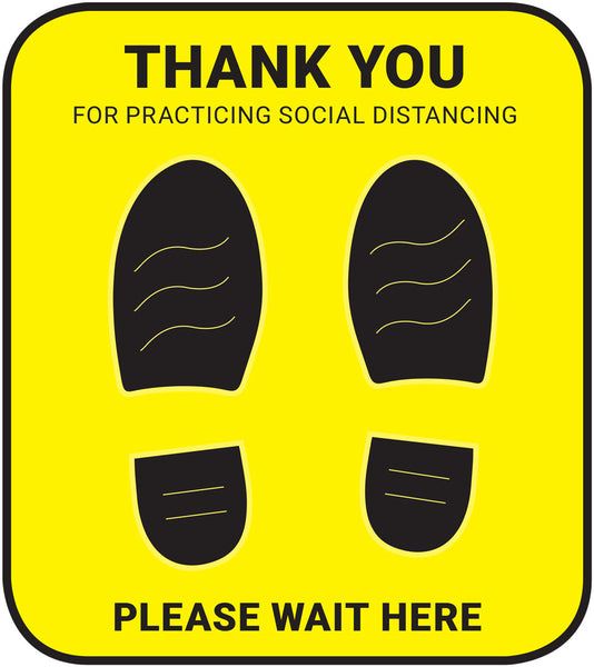 Please Stand Here - Square - Yellow - Set of 5