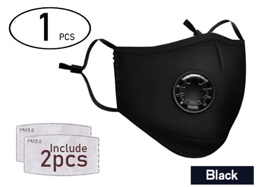1pcs BLACK Washable & Reusable Fashion Protective Face Mask Unisex with breathing valve ( Include 2 filter PMA2.5 ) - Innovatek Store