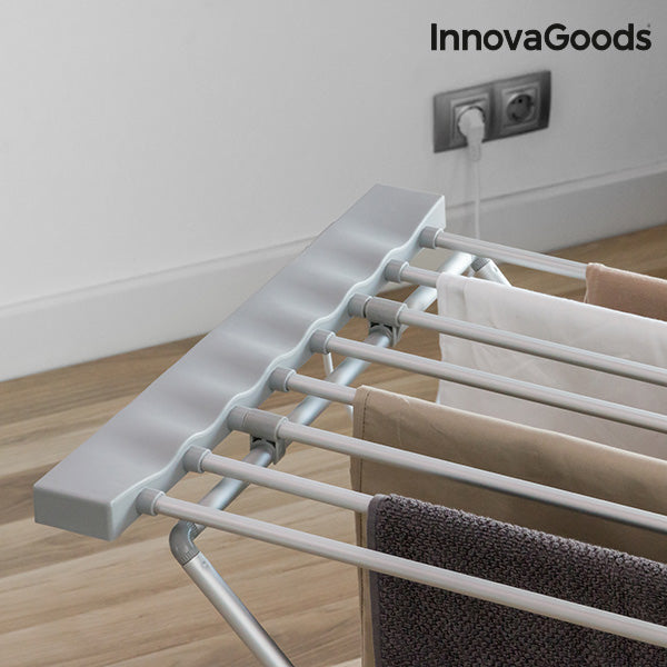 InnovaGoods Foldable Electric Clothes Horse 120W Grey (8 Bars)