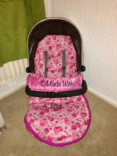 Load image into Gallery viewer, Pink Rose Buggy Footmuff, Carry car seat footmuff & Accessories