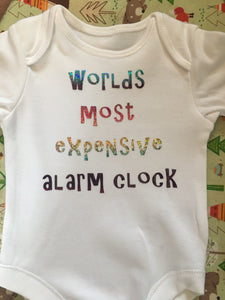 """Worlds most expensive alarm clock"" baby grow"