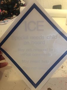 ICE car decal, special needs decal, accident decal, autism decal