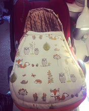 Load image into Gallery viewer, Woodland (Foxes & Owls) fabric Footmuff, Car Seat Footmuff & Accessories