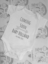 "Load image into Gallery viewer, ""Coming Soon"" baby grow, baby reveal baby grow"