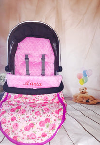 Pink Rose Buggy Footmuff, Carry car seat footmuff & Accessories