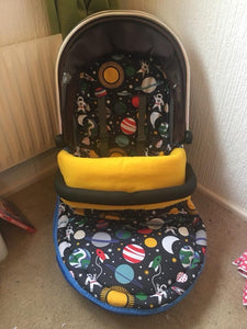 Premade footmuff space theme w/yellow fleece