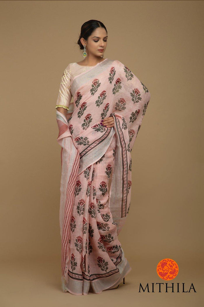 BLOCK PRINTED LINEN SAREE