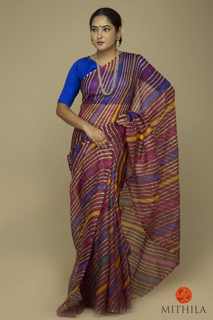 SILK COTTON KOTA LEHARIA SAREE