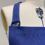 Load image into Gallery viewer, Cotton Apron in Dark Blue Color with Handmade Decorative Stitching