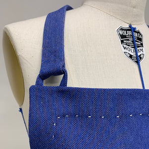 Cotton Apron in Dark Blue Color with Handmade Decorative Stitching