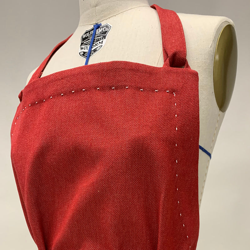 Cotton Apron in Red Color with Handmade Decorative Stitching