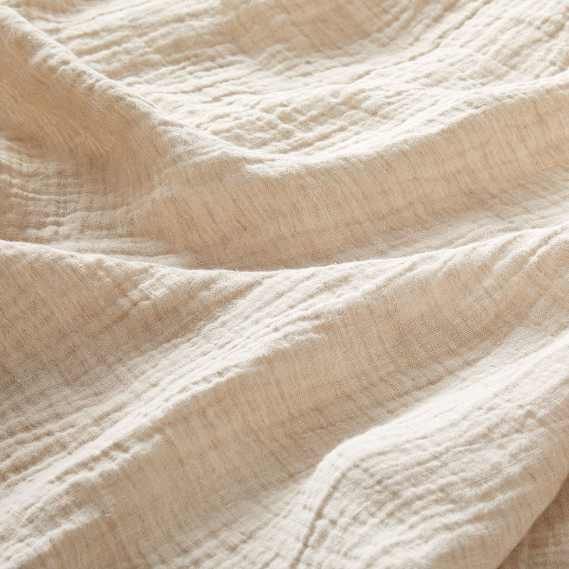 Soft Crinkled Linen Bed Cover the color of Oat