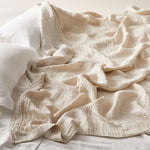 Load image into Gallery viewer, Soft Crinkled Linen Bed Cover the color of Oat
