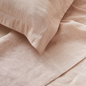 Pure Linen Double Bed Sheet Set in Cameo color