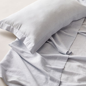 Pure Linen Single Bed Sheet Set in Powder Blue color