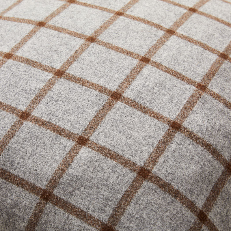 Modern yet Classic Cashmere Cushion in Grey and Brown Checked