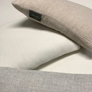 Fresh Linen Cushion Woven in a Honeycomb Texture the color of fresh Milk poured into your favorite coffee