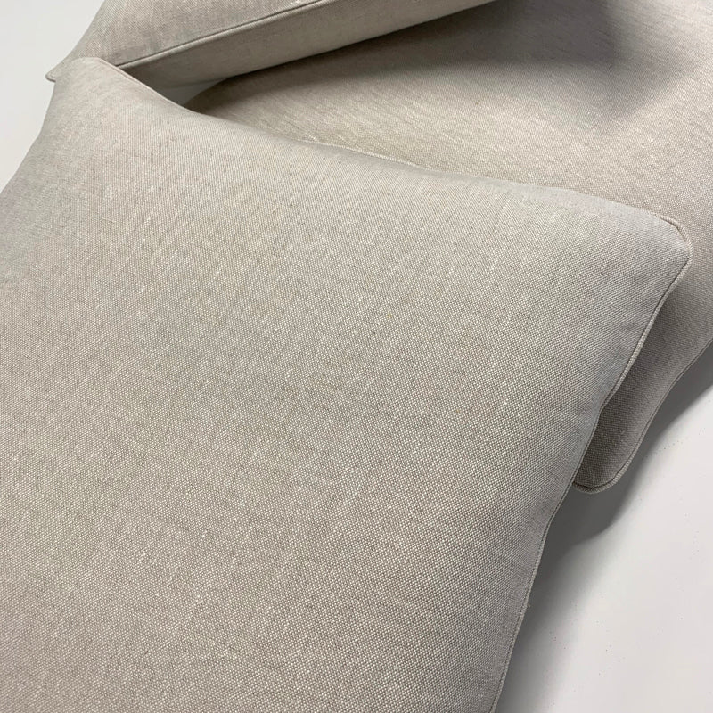 Fresh Linen Cushion Woven in Oat color finished with Coordinated Piping