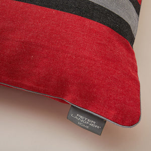 "Lively Striped Cushion in pure Cotton finished with Coordinated Color Piping, 31.5""x31.5"""