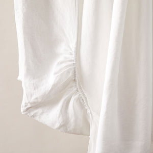 Pure Linen Single Fitted Sheet in Cameo/Powder Blue colors