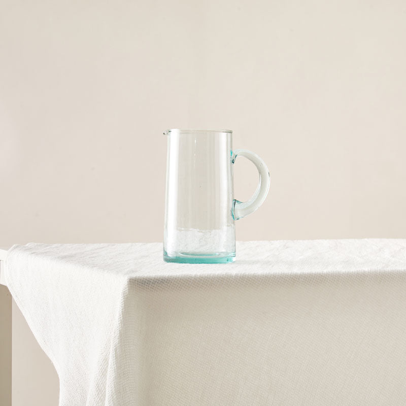 Recycled Glass Pitcher in Sea-Green designed with an Exaggerated Handle