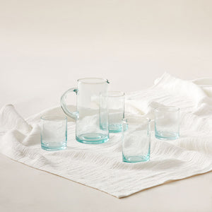 Recycled Medium Glass Tumbler in a Set of 6 in Sea-Green
