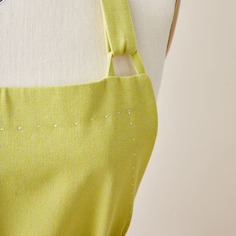 Cotton Apron in Lime Green Color with Handmade Decorative Stitching