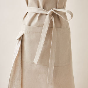 Cotton Apron in Oat Color with Handmade Decorative Stitching