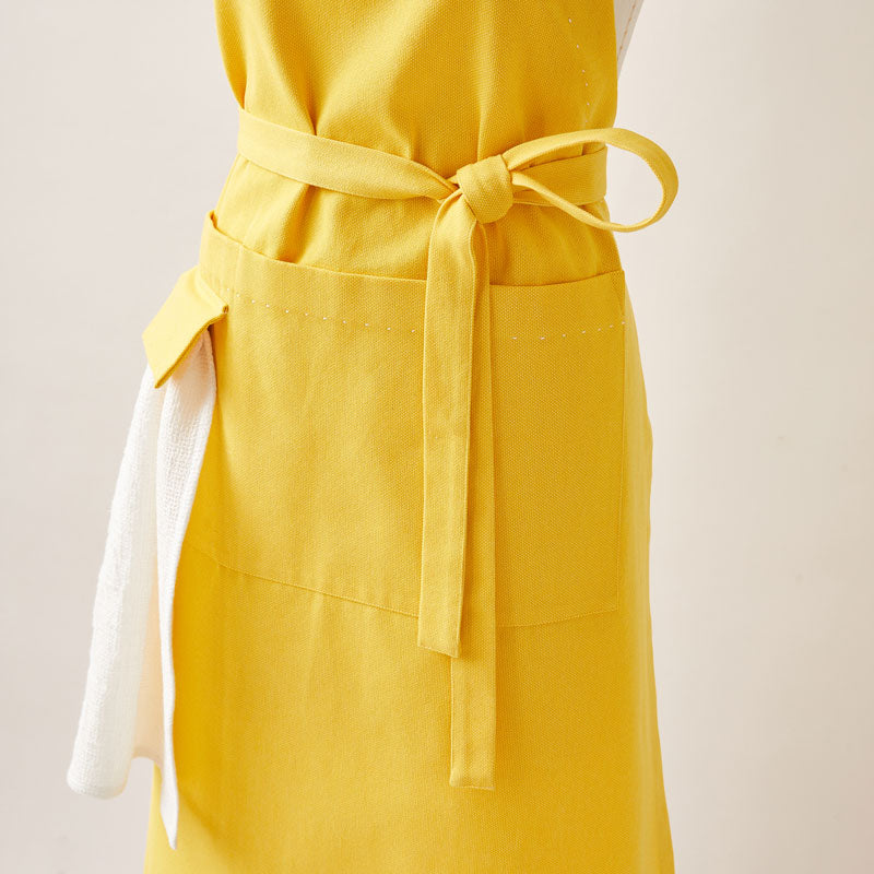 Cotton Apron in Sunflower Yellow Color with Handmade Decorative Stitching
