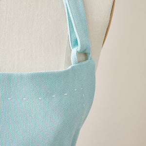 Cotton Apron in Tiffany Blue Color with Handmade Decorative Stitching