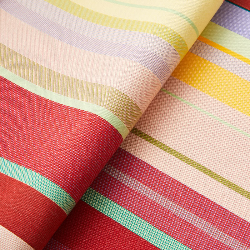Striped Placemat in Yellow and Cherry color scheme, 2-piece sets