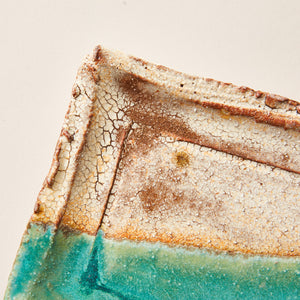 Handmade Ceramic Plate Glazed into Oat and Turquoise color