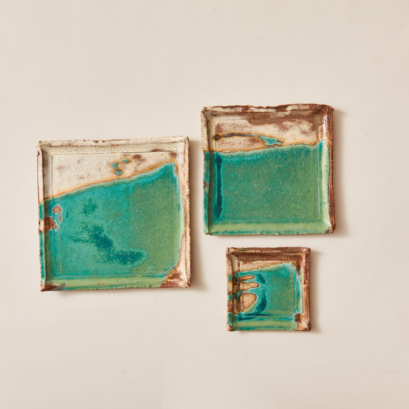 Handmade Ceramic Squared Plate Glazed into Oat and Turquoise color