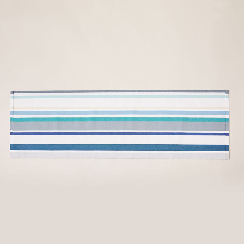 Striped Cotton Runner in White and Aquamarine color scheme