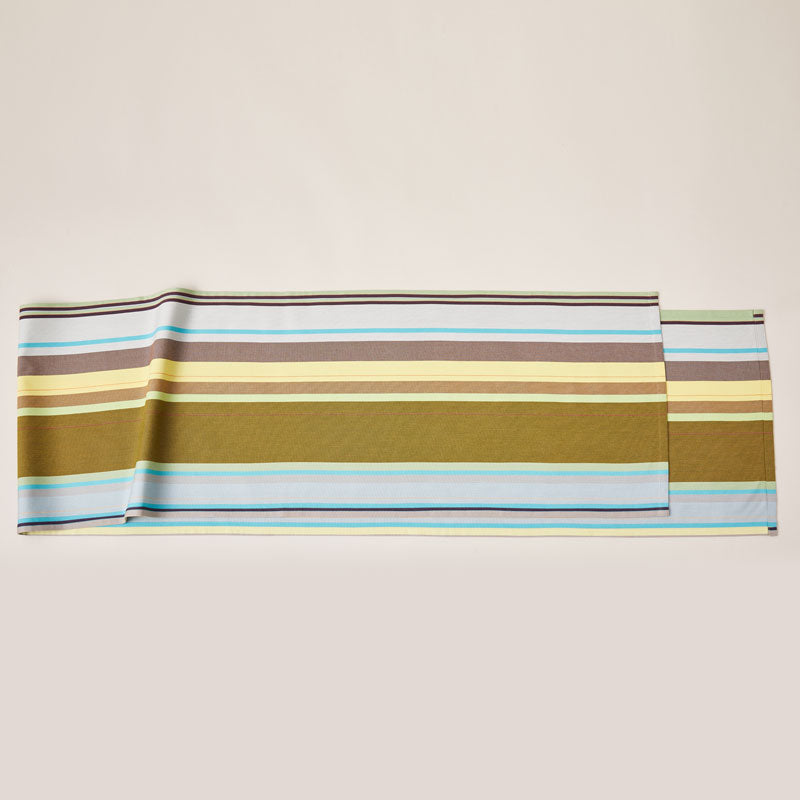 Striped Cotton Runner in Green and Purple color scheme