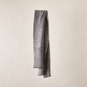 Soft Italian Cashmere Stole/Throw Blanket Hand-Frayed Edging in Grey Tweed