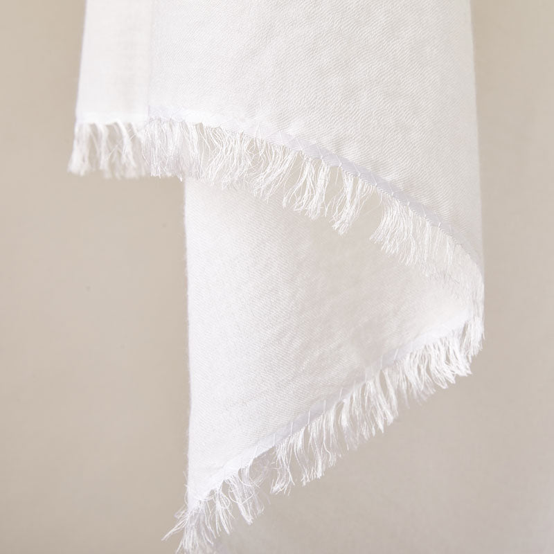 Soft Italian Cashmere Stole/Throw Blanket Hand-Frayed Edging in the color of Fresh Milk