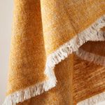 Load image into Gallery viewer, Soft Italian Cashmere Stole/Throw Blanket Hand-Frayed Edging in a Tweed Pumpkin color