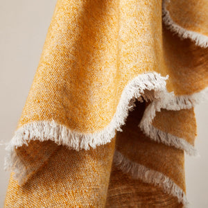 Soft Italian Cashmere Stole/Throw Blanket Hand-Frayed Edging in a Tweed Pumpkin color