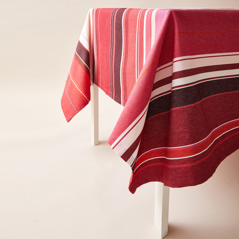 Striped Cotton Tablecloth in Amarena color scheme