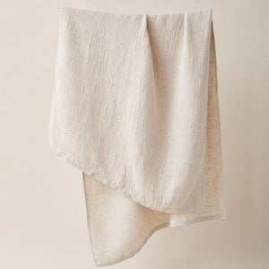 Honeycombed Textured Linen Bath Towel in cappuccino color