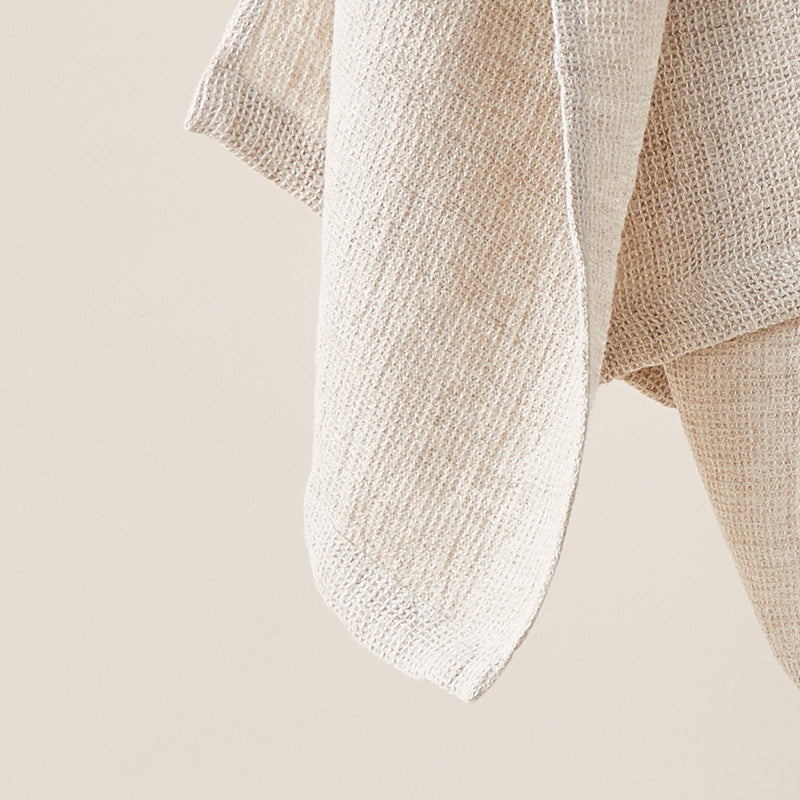 Honeycombed Textured Linen Set of Hand Towels in Cappuccino color