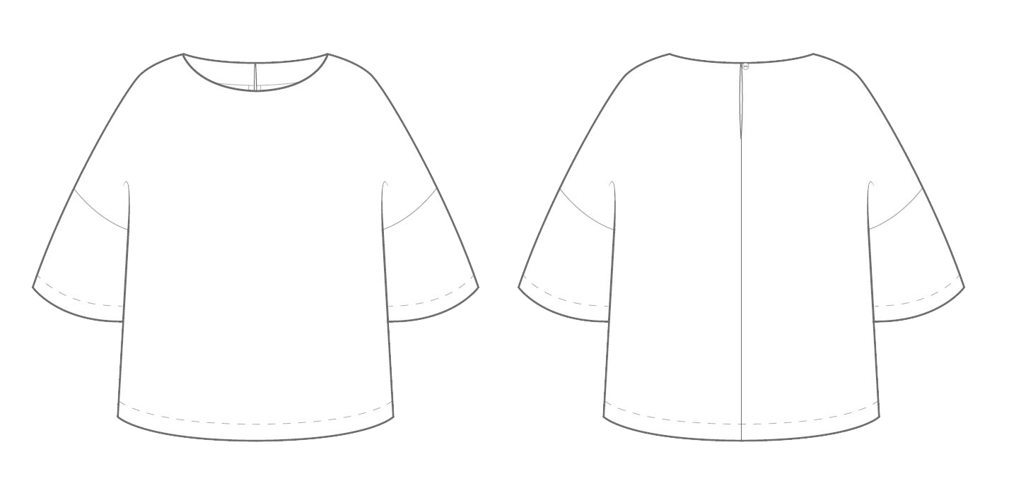 technical drawing for the drop sleeve top