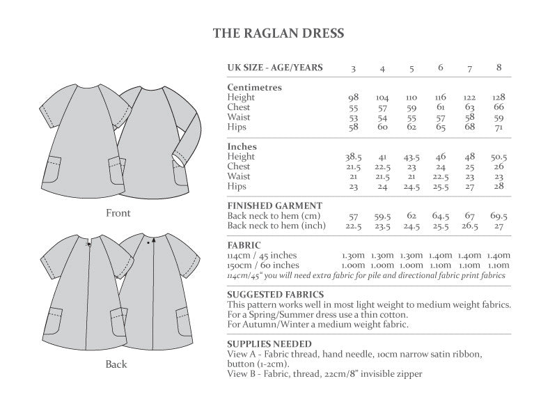 The Raglan Dress - Ages 3-8 years - The Avid Seamstress