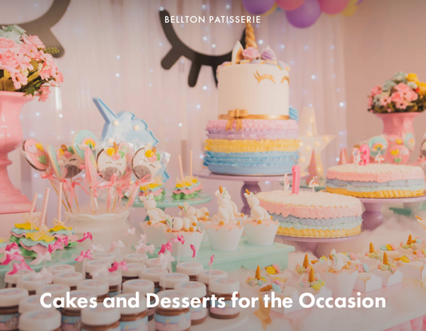 Cakes and desserts for the occasion