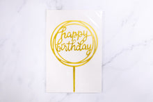 Load image into Gallery viewer, Gold (Round) Happy Birthday Cake Topper